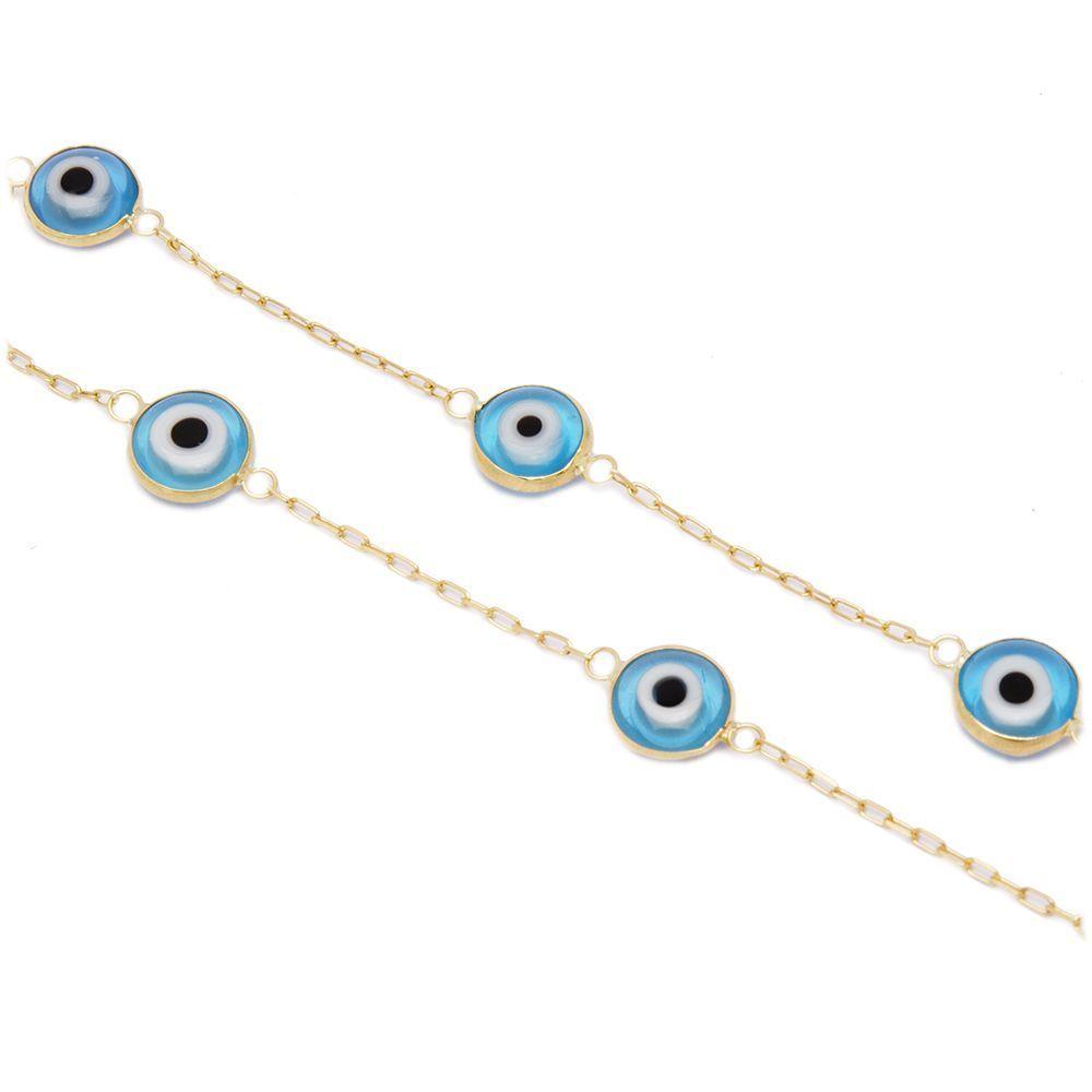 Pulseira Olho Grego em Ouro 18 Kilates - 20649