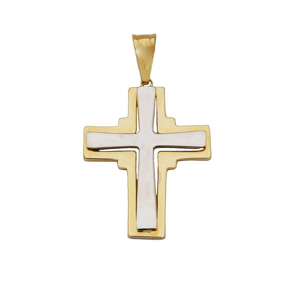 Pingente Cruz Bicolor em Ouro 18 Kilates - 21205