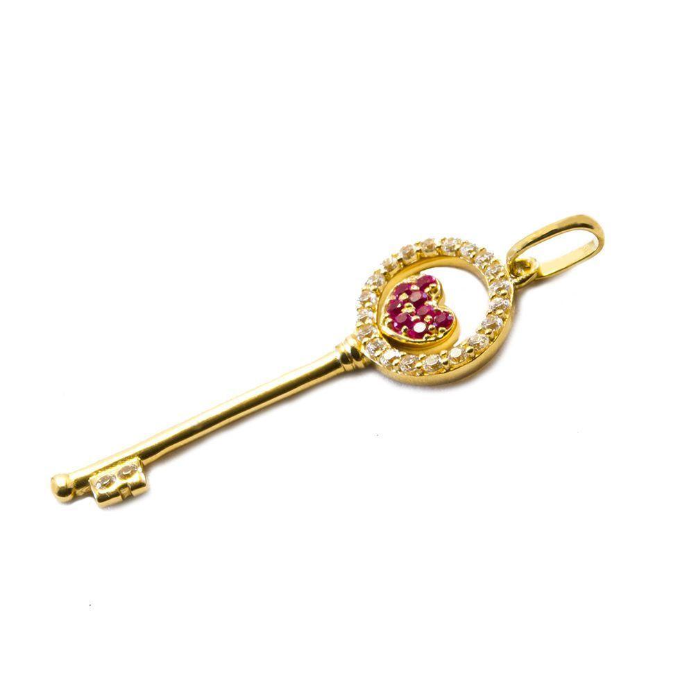 Pingente Chave com Zircônias em Ouro 18 Kilates - 24233