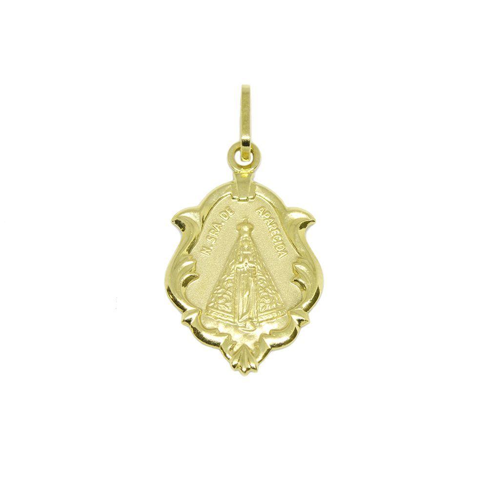 5d1393ea2c9f4 Pingente Nsra. Senhora Aparecida Modelo Capelinha Médio em Ouro Amarelo 18  Kilates - 25069 ...